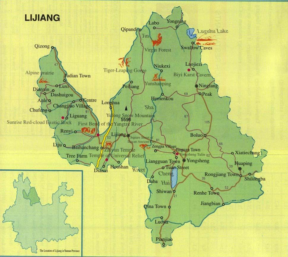 Lijiang China  City new picture : Lijiang Map, Map of Lijiang China, Lijiang City, Tourist Map
