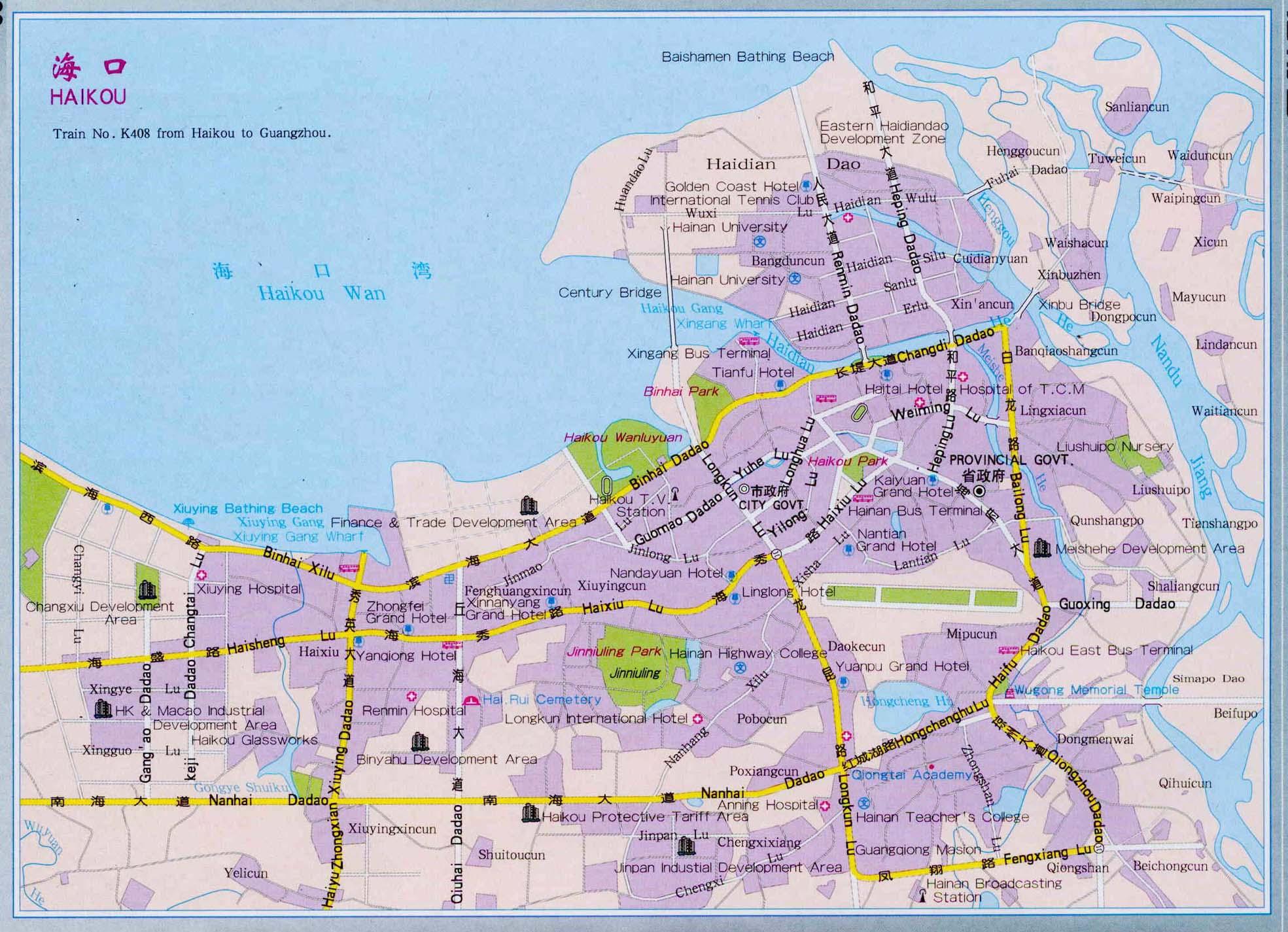 Haikou China  City new picture : Haikou Map, Map of Haikou China, Haikou City, Tourist Map