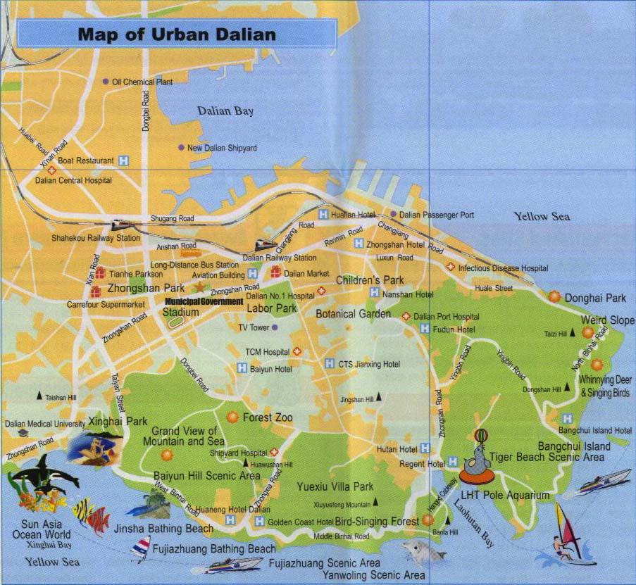 Dalian China  city images : Dalian Map, Map of Dalian China, Dalian City, Tourist Map