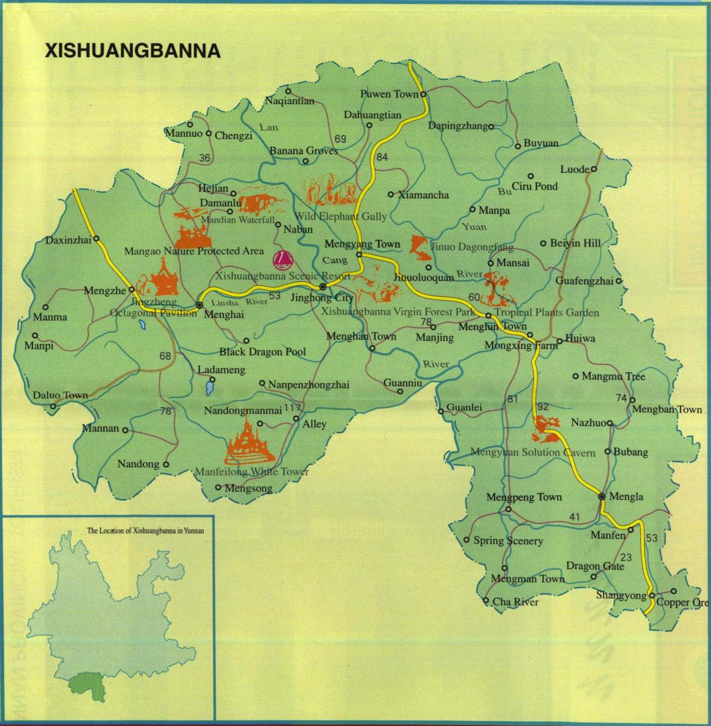 Xishuangbanna China  City pictures : Xishuangbanna Map, Map of Xishuangbanna China, Xishuangbanna City ...